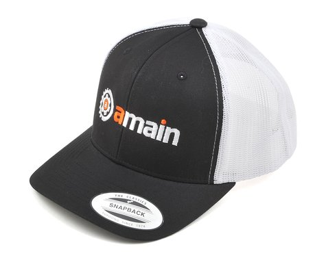 AMain Trucker Hat w/Gears Logo (Black) (One Size Fits Most)