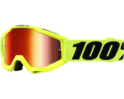 100% Accuri Youth Goggle (Fluo Yellow) (Mirror Red Lens)