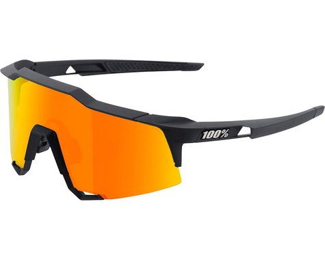 100% Speedcraft Sunglasses: Soft Tact Black Frame with HiPER Red Multilayer Mirr