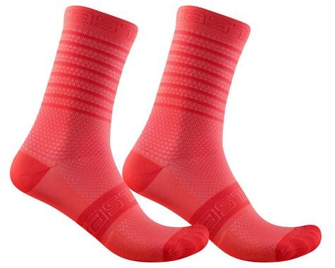 Castelli Superleggera 12 Women's Sock (Brilliant Pink) (L/XL)