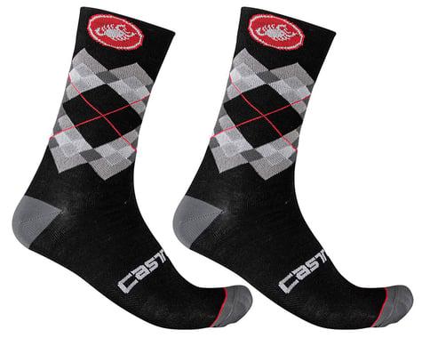 Castelli Rombo 18 Socks (Black/Dark Grey/Red) (L/XL)