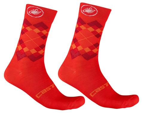 Castelli Rombo 18 Socks (Fiery Red/Bordeaux/Orange) (S/M)
