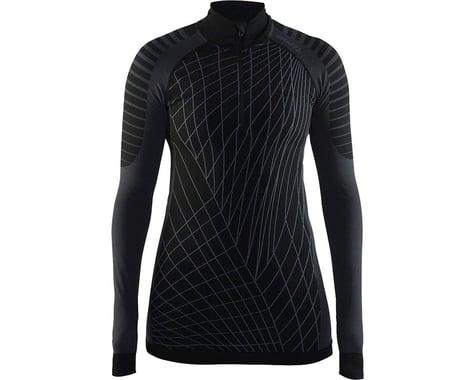 Craft Active Intensity Women's Base Layer Zip Neck Top: Black/Granite MD