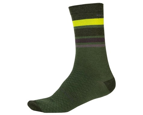 Endura BaaBaa Merino Stripe Sock (Forest Green) (S/M)