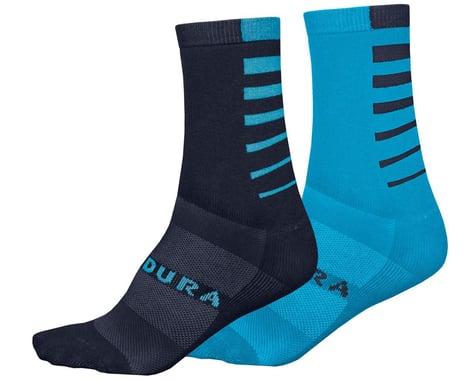 Endura Coolmax Stripe Socks (Electric Blue) (Twin Pack) (2 Pairs) (S/M)