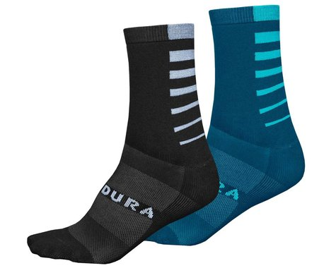 Endura Coolmax Stripe Socks (Kingfisher) (Twin Pack) (2 Pairs) (S/M)