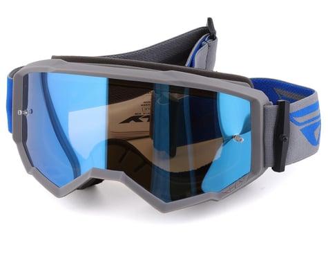 Fly Racing Zone Goggles (Grey/Blue) (Sky Blue Mirror/Smoke Lens)