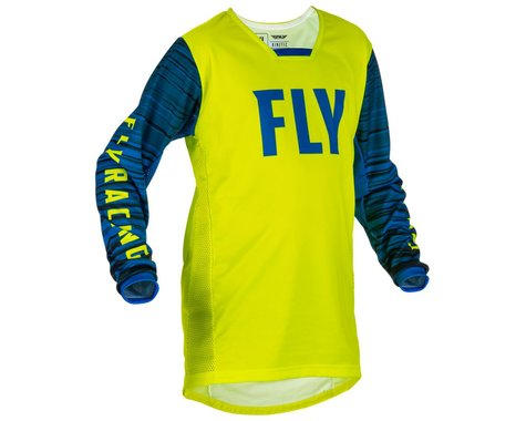 Fly Racing Youth Kinetic Wave Jersey (Hi-Vis/Blue) (Youth L)