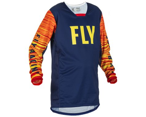 Fly Racing Youth Kinetic Wave Jersey (Navy/Yellow/Red) (Youth L)