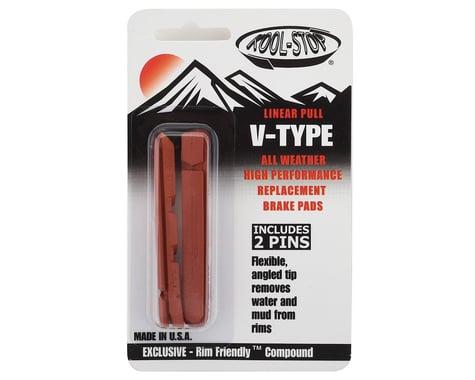 Kool Stop Linear Pull Brake Pad Inserts (Black) (1 Pair) (Salmon Compound)