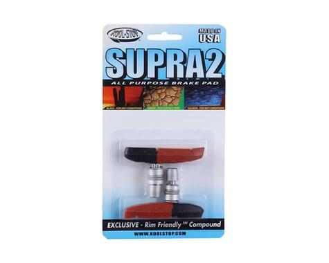 Kool Stop Supra 2 Brake Pads (Black/Red) (1 Pair) (Dual Compound)