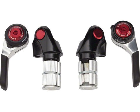 Microshift Road Bar End Shifters (Silver/Red) (Pair) (2/3 x 10 Speed)