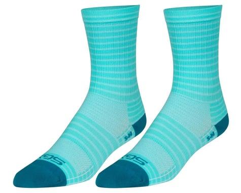 """Sockguy 6"""" SGX Socks (Aqua Stripes) (S/M)"""