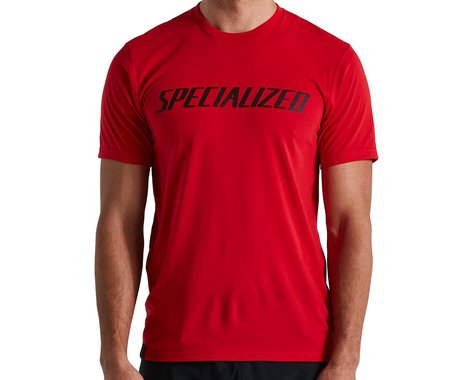 Specialized Men's Wordmark T-Shirt (Flo Red) (XS)