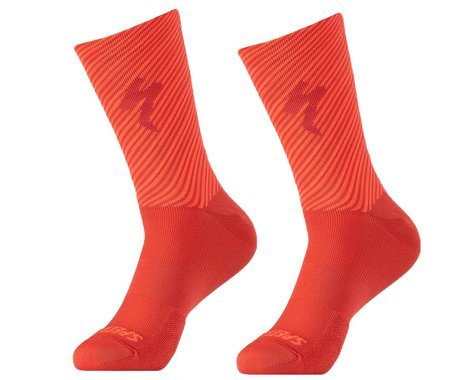 Specialized Soft Air Road Tall Socks (Flo Red/Rocket Red Stripe) (L)