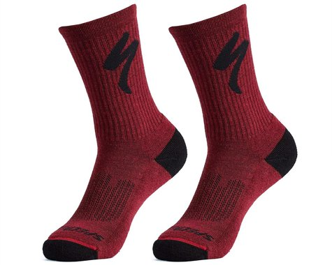 Specialized Merino Midweight Tall Logo Socks (Maroon) (L)