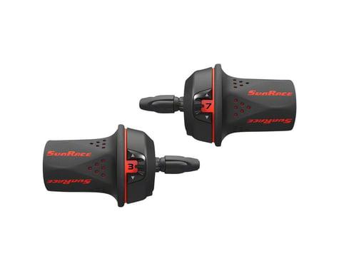 Sunrace M21 Twist Shifters (Black/Red) (Pair) (3 x 7 Speed)