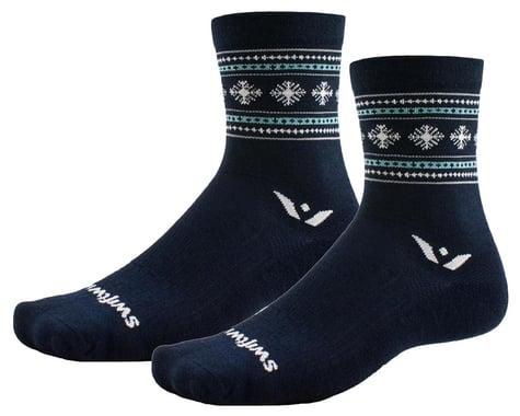 Swiftwick Vision Five Winter Socks (Navy Snowflake) (L)