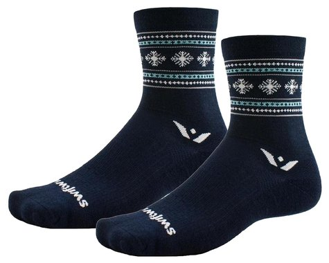Swiftwick Vision Five Winter Socks (Navy Snowflake) (XL)
