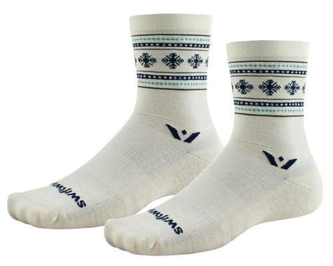 Swiftwick Vision Five Winter Socks (Cream Snowflake) (L)