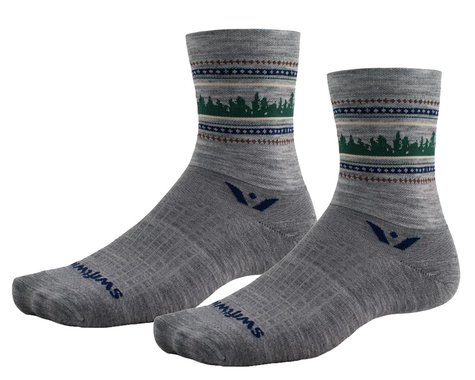 Swiftwick Vision Five Winter Socks (Heather Forest) (L)