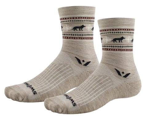 Swiftwick Vision Five Winter Socks (Khaki Wolves) (L)