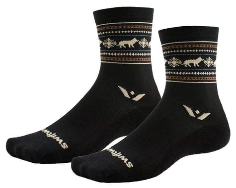 Swiftwick Vision Five Winter Socks (Black Wolves) (XL)