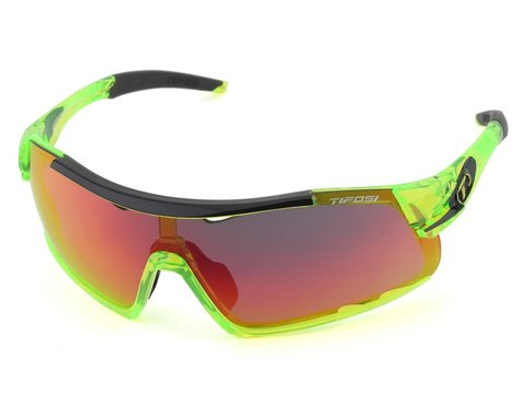 Tifosi Davos Sunglasses (Crystal Neon Green) (Clarion Red, AC Red & Clear Lenses)