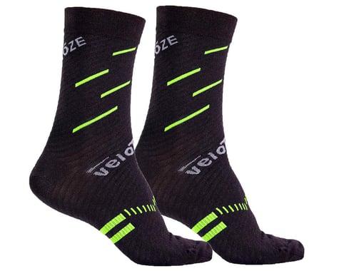 VeloToze Active Compression Wool Socks (Black/Yellow) (L/XL)