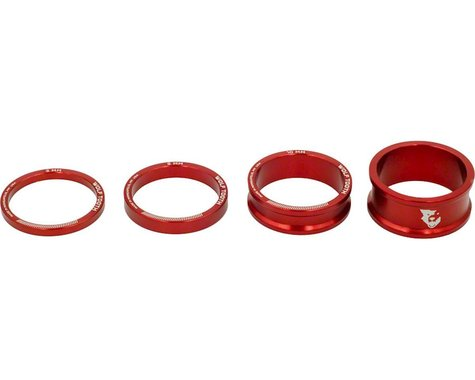 """Wolf Tooth Components 1-1/8"""" Headset Spacer Kit (Red) (3, 5,10, 15mm)"""
